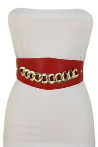 Women Red Strap Waist Hip Corset Waistband Wide Belt Gold Chain Links Size S M