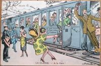 Train Taking Men from Women 1918 French Military Fantasy Postcard, Artist-Signed