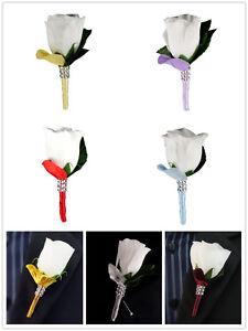 Boutonniere - White Rosebud *Pick Ribbon/Stem and Petal Color* Prom Wedding