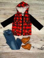 Toddler Boy, Girl Red Black Buffalo Plaid Shirt Hoodie Vest Set 2T 3T 4T 5 6 7 8