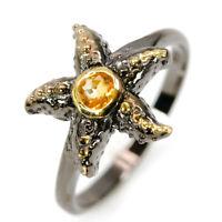 Fashion Jewelry Design Natural Citrine 925 Sterling Silver Ring / RVS310