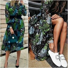 ZARA Woman BNWT Authentic Blue Mulberry Silk Floral Midi Devore Dress M 2731/255