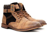 Mens Ankle Casual Chelsea Biker Retro Zip Buckle Lace Up Boots Shoe Size UK 6-11