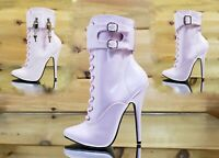 """Domina 1023 Baby Pink Patent 6"""" Heel 3 Piece Cuff High Heel Ankle Boots 6-16"""