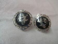 post Earrings Damascene Niello Dancers Vintage Siam Amfarco Sterling screw