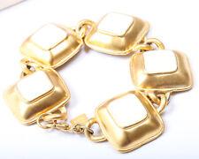 Anne Klein Gold Tone and White Enamel Bracelet, Vintage 1980s