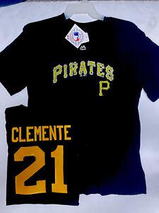 PITTSBURGH PIRATES #21 Roberto Clemente T Shirt Medium Black New