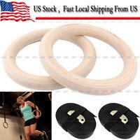 Yosoo Wood Gymnastic Ring Olympic Strength Training Gym Rings Wooden Crossfit