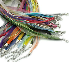 15 Organza Ribbon Waxen Cord Necklaces with Claw Lobster Clasps - 17 inch (43cm)