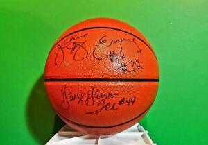 AUTHENTIC HAND SIGNED NBA BASKETBALL JULIUS ERVING, ERVIN MAGIC JOHNSON, GERVIN