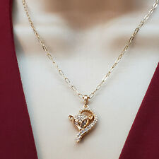 """18K Gold Plated Fox Crystal Pendant Necklace Chain 18"""" Chapa de Oro"""