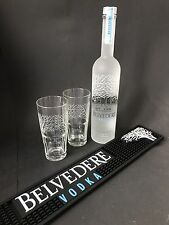 Belvedere Vodka Set 0,7l Flasche + 2 Belvedere Gläser + Barmatte 40%Vol. NEU OVP