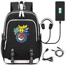 Anime Pokemon Ash Ketchum Eevee USB Mochila Escolar Bolsa Portátil Hombro Mochila