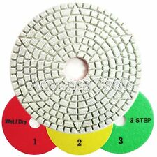 "4"" 3-Step Wet / Dry Diamond Polishing Pads for Granite Marble Stone - 3pcs Set"