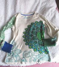-Schöner Desigual Strick Pullover-tolle Farben&Muster-Baumw.-h.beige/grün-Gr.L
