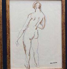 Jean Chapin 1896-1994 Ec.Fr Etude De Nu Crayon Bille et Feutre Couleur Sur Papie