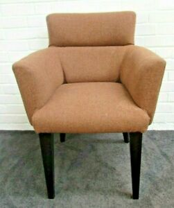 Retro Style Speckled Brown Tweed Angular Tub Chairs