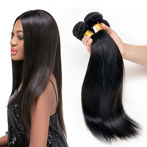 3budnles Straight Hair Wave Virgin 100% Brazilian 7A Human Hair Extensions 150g