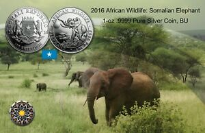 2016 Somalian Elephant 1 oz .9999 Silver Coin BU (Free Shipping)
