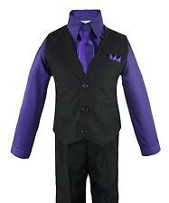 Boys Outfit Set Toddler Baby Soli Vest Shirt Tie Pants Wedding Suit Infant 6M-4T