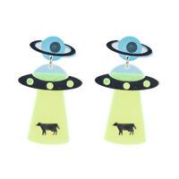 Women Acrylic Boho Dangle Drop Stud Earring  Resin Ear UFO Earrings Jewelry