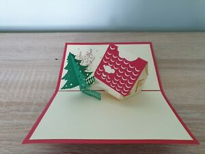 3d Popup Snowman, House And Christmas Tree Card