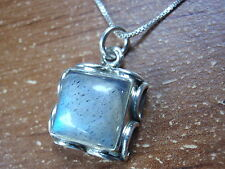 Labradorite Square with Rope Style Accents 925 Sterling Silver Pendant 626b