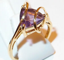 Amethyst solitaire with looping bands, 14K gold overlay Sterling Silver, Size O.