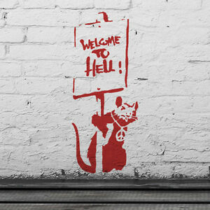 Banksy Rat Welcome To Hell Stencil Reusable Home Wall Decor Paint Ideal Stencils