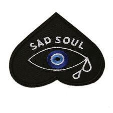 """Sad Soul Eye Clothing Jeans Patch Embroidered Iron Sew On Appliques 3.3""""X2.6"""""""