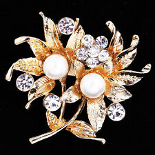 Gold Flower Pearl Brooch Pin Women Rhinestone Crystal Wedding Bridal Bouquet