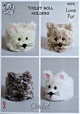 Crochet Pattern Rotolo di carta igienica copre-Gatti 4 stili Luxe pelliccia grosso modello 9070