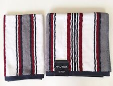 Attrayant Nautica Centerline 2 PC Set Blue Red Gray Stripe 100 Cotton Bath Hand Towel