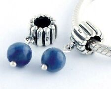 Faux Pearl Blue Coloured 925 Sterling Silver Dangle Charm Bead
