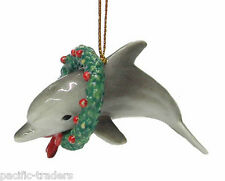R272 - Northern Rose Christmas Ornament -Dolphin with Christmas Wreath RETIRED!