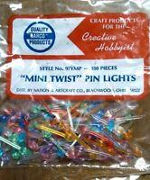 144 SMALL TWIST BULBS Ceramic Christmas Tree Lights Flame Pegs 6 COLORS// 2 stars