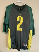 Vintage Nike Men's Sz M Medium NCAA Oregon Ducks #2 Football Jersey Green Yellow