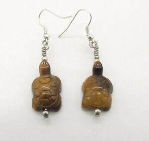 "2"" Carved Golden Brown Cat's Eye Gemstone Turtle Pierced Earrings  Tiger's Eye"