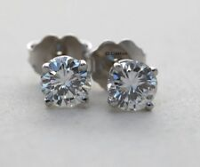 2.0 CT Off White Genuine Moissanite 925 Sterling Silver Solitaire Stud Earrings