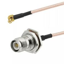 """RP TNC female bulkhead to MCX male right angle Pigtail Coax Cable RG316 USA 12"""""""