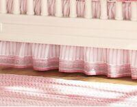 "Pottery Barn Kids NWT!! KARINA CRIB Bed skirt Pink & White Striped 16"" Drop"