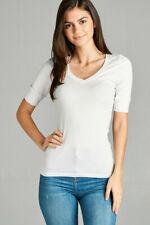 Women's Basic V-Neck Elbow Sleeve T-Shirt Short Sleeve Stretchy Top Reg & Plus