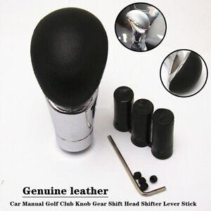 Leather Car Manual Golf Club Knob Gear Shift Head Shifter Lever Stick w/Adapters