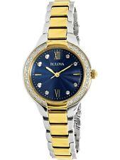 Bulova Women's Quartz Diamond Accent Two-Tone Blue Dial 28mm Watch 98R223