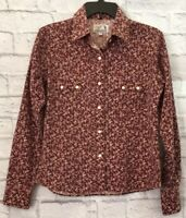 Panhandle Slim Womens Retro Western Shirt Paisley Floral Snap Button Size Medium
