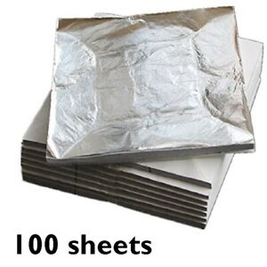 100 x Sheets Silver Leaf 70mm  Art + Crafts Gilding Framing gold also available