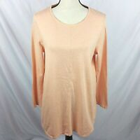 Pure Jill Womens Shirttail Tunic T-Shirt Top M Orange 100% Pima Cotton Long