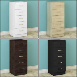 5 Drawers Chest of Drawers Narrow Tall Cabinet Bedroom Hallway Storage Furniture