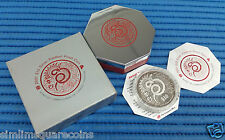 2001 Singapore 2 oz Lunar Year of the Snake $10 Silver Piedfort Proof Coin