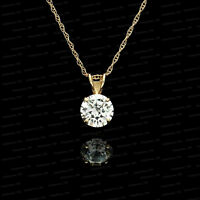 2.00 Ct Round Cut VVS1 Diamond 14K Yellow Gold Over Solitaire Charm Pendant